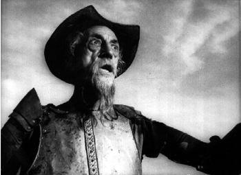 فرانچسکو رگوئرا در نقش دون کیشوت در نمایی از فیلم ناتمام اورسن ولز