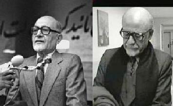 سمت چپ مهندس مهدی بازرگان نخستین نخستوزیر ایران پس از انقلاب و سمت راست رضا بابک در نقش او در سریال روزگار قریب