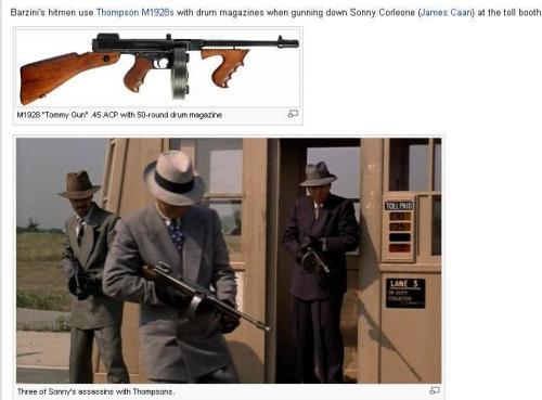 اسلحههای به کاررفته توسط قاتلهای سانی در «پدرخوانده» از نوع سابمشین تامپسون هستند